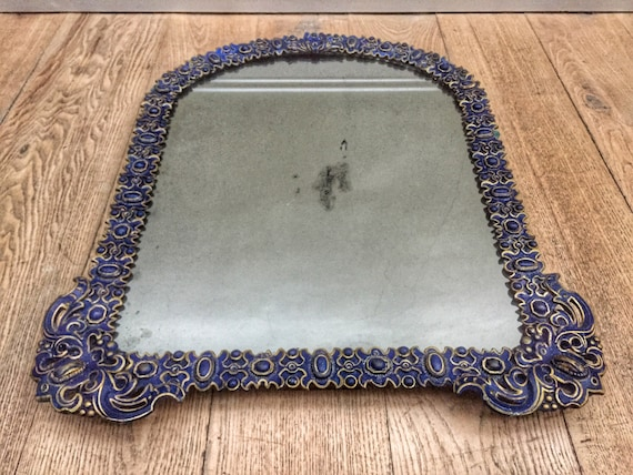 Early Mid Victorian 1900th century papier-mâché mirror made by Charles Frederick Bielefeld with original mercury glass