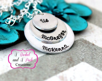 Custom Hand Stamped Family-Mother-Grandmother Necklace