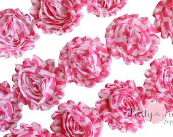 Hot Pink Chevron Shabby Rose Trim- Shabby Flowers- 1/2 Yard or 1 Yard- Shabby Chiffon Trim- Wholesale Shabby Flowers- Chiffon