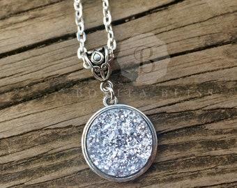 Light Silver 18mm Faux Druzy Pendant Necklace, Druzy Necklace, Silver Druzy, Silver Drusy, Drusy Jewelry
