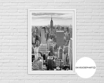 New York Print, New York Photography, Black and White, NYC Print, New York Coordinates, Modern Wall Art, New York Poster, New York City