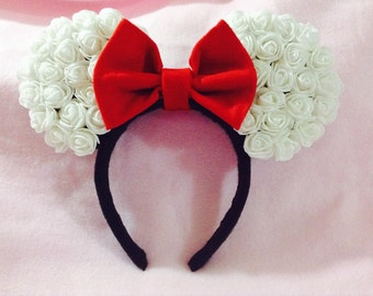 Minnie Mouse Ears (white rose)