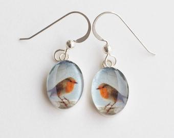 Robin Earrings, Sterling Silver Oval Drop Earrings with Resin and Fine Art Image Transfer, Gift for Bird Lover, Robin Earrings
