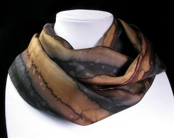 Scarf, Silk Scarf - Hand Painted Silk Art - Quintessence, Gift for Her, black and brown scarf - Midnight Canyon