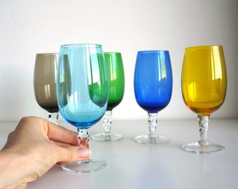 Colored stem glasses 1950s Italy, vintage hand blown footed glasses for wine / for water, colored glass