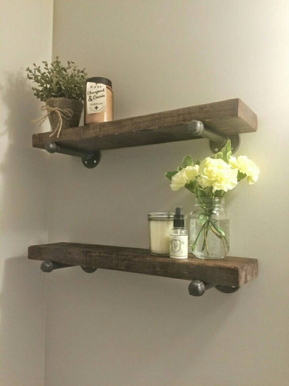 Rustic wood shelves with industrial pipe mount pipe wood