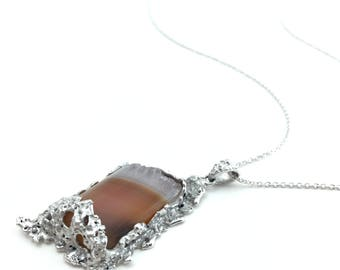 Picture agate necklace, Unique agate necklace,Nature inspired jewelry, artisan jewelry