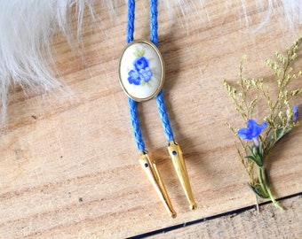 Dainty Blue Floral Bolo Tie