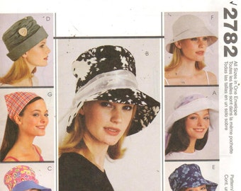 "SALE***McCalls 2782, Head Size 22-23"". Ladies hat pattern different looks including Mad Hatter hat, Head Scarf & Wide Brim  Hats"