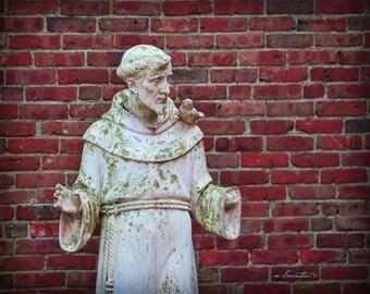 St. Francis in Boston's Little Italy - Boston -  Fine art travel photo - sculpture - Boston photo - brick, merlot, pink, grey, white