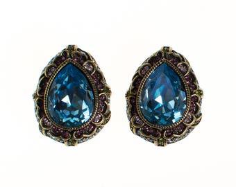 Vintage Heidi Daus Blue Crystal and Amethyst Rhinestone Earrings, Clip On