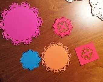 4 Round Nestabilities, Pink, Red, Blue, Orange, Sizzix, Cardstock, Different Edges