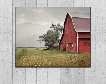 Red Barn CANVAS Gallery Wrap, country picture, landscape photograph, rustic, woodland, farm decor, large wall art