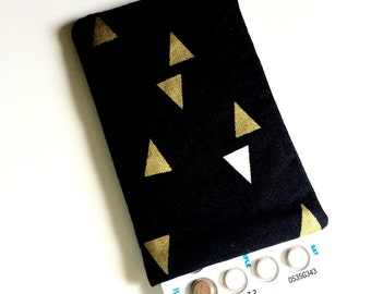 Pill Case Birth Control Cozy - Gold Triangles