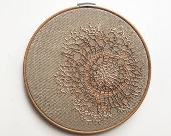 Original Hand Made Stitched Tangled Embroidery Needlework Textiles Texture Wall Art Artwork Painting Mixed Media Home Decor Fabric Web