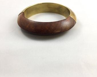 Vintage half brass half wood bangle bracelet
