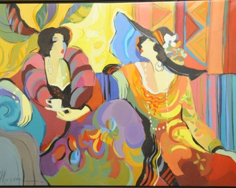 Acrylic on Canvas Original Unique Art Painting Signed by Isaac Maimon Gossip Coffee