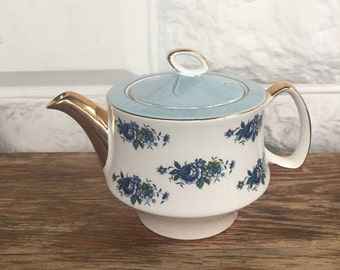 Vintage Gibsons Staffordshire English Teapot light blue and gold