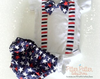 4th of July Outfit - Baby's 1st 4th of July - Stars and Stripes - Bowtie - Patriotic Baby Gift - Baby Boy July 4th Outfit - Bowtie Onesie