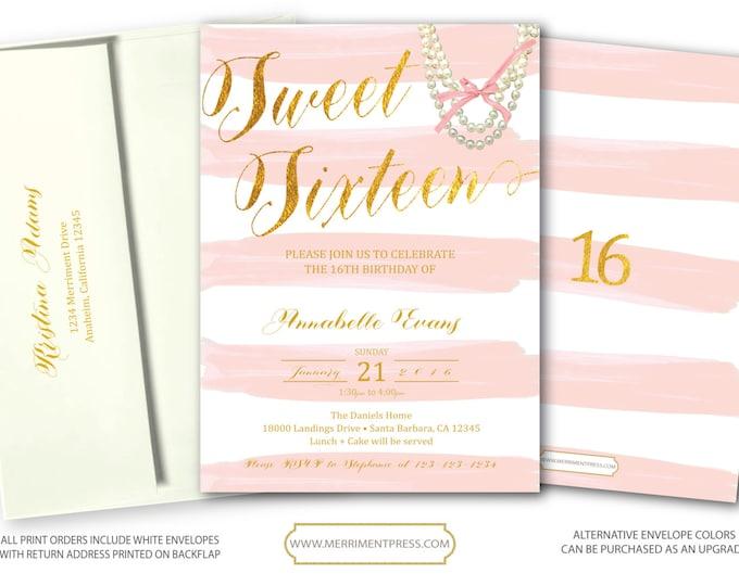 Pink and Gold Sweet Sixteen Birthday Invitation, Pearl Sweet sixteen invitation, 16th Birthday Invitations, Blush Sixteen - SANTA BARBARA