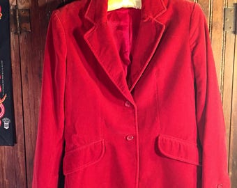 1970s Red Velvet Blazer by Villager size 4 in a bright cherry red high quality made in USA garment