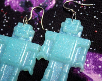 Blue Robot Glitter Statement Earrings Sterling Silver Resin Dangles