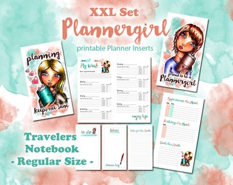 XXL Plannergirl Set - printable Inserts for Travelers Notebook REGULAR Size - Midori, Fauxdori - Day on 1 Page, Week on 2 Pages etc.