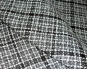Black And White Boucle Fabric by the meter Tweed Fabric