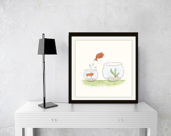 gold fish print,pair of goldfish, goldfish in bowl, goldfish bowl, goldfish watercolour, goldfish art, fish illustration,