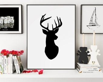 Deer Poster, Deer Wall Art, Deer Print, Deer Art, Deer Silhouette, Deer Decor, Deer Wall Decor, Wall Art, Wall Prints, Printable Art