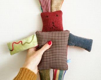 "Stuffed rabbit ""Lucky"", cuddle rabbit, stuffed animal, Leukgemaakt, children's toys, kids present, Christmas, birthday gift, little baby"
