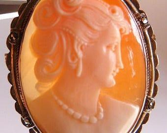 Vintage cameo brooch pendant   gilt sterling frame   shell cameo   sardonyx cameo   turn of the century