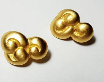 Vintage GIVENCHY Signed On Clip Earrings/Art Deco/Satin Gold Tone/Spiral/Matte Gold Tone/Designer Signed/Costume Jewelry/High Fashion