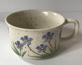 Vintage 1970s Flower Soup Mug Soup Bowl