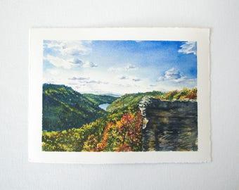 Raven's Rock Overlook Watercolor Print - WV Landscape Print - Landscape Watercolor Illustration