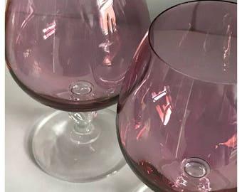 Pair of Vintage Amethyst Glass Brandy Snifters, Clear Ornate Stem