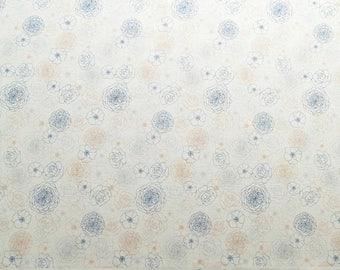 Elegant flower print fabric in light color, white flower print fabric, cotton fabric