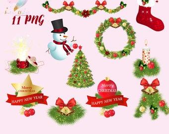 Christmas clipart, xmas decoration, holiday clip art, advent candle, christmas tree, christmas wreath, christmas stocking, cute snowman, glo