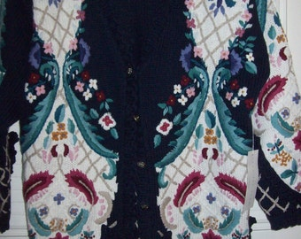 Sweater XL,  Jennifer Reed Hand-Knitted  Floral Cardigan Sweater  - Outstanding detail L -XL