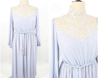 "1970s maxi dress   gray sheer lace neckline formal maxi dress   vintage 70s dress   W 26""+"