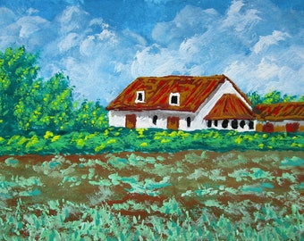 "ARTIST TRADING CARD Belgian Farm #250 by Mike Kraus 2.5 "" x 3.5"" - home decor wall art house trees barn belgium green aceo collection gift"