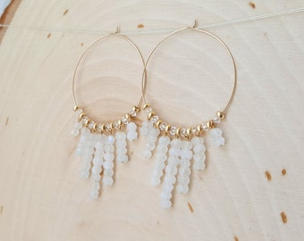Moonstone Fringe Gold Hoops