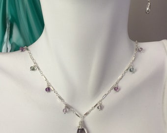Flourite and Sterling Silver Dangle Necklace Flourite Necklace Flourite Jewelry Sterling Silver Necklace Sterling Silver Jewelry Gemstone