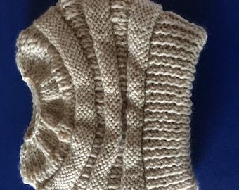 Hand Knit Superwash Wool and Acrylic Messy Bun CCBeanie Copycat  Stocking Cap/Hat in Light Beige