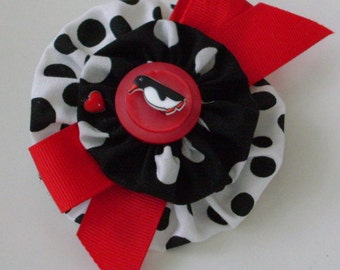 Small Barrette, Black & White with Red, Penguin Button, Cute!