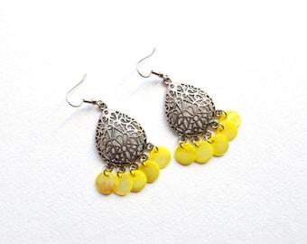 Yellow shell chandelier earrings Gypsy spirit jewelry Summer boho earrings Dangle seashell coins earrings Long Hippie style Earrings w shell