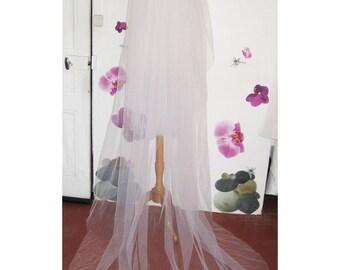 Long white tulle Wedding Veil