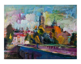 Autumn in Salamanca  - Fine Art Giclee Print, Europe European Cityscape Cityscapes Abstract Figurative Painting Original Paintings Landscape