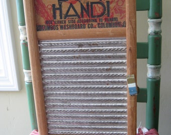 Wooden Washboard Two-Shelf Cabinet with Latch, Vintage, Handmade
