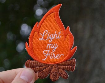 Campfire Patch, Rock Patches, Light My Fire, The Doors Patch, Camping Patch, Patch for Backpack, Outdoors Patch, Iron On Patches for Jacket